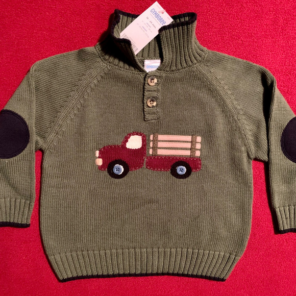 GYMBOREE LITTLE PICKUP TRUCK  NAVY N RED STRIPED SWEATER HAT 3 6 12 18 24 NWT